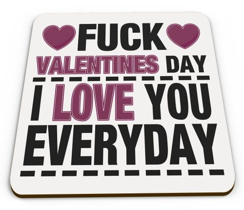 Fuck Valentines Day I Love You Everyday Funny Novelty Glossy Mug Coaster